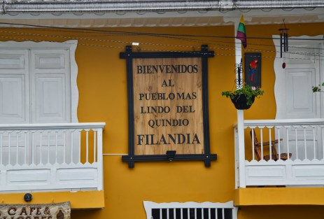 """Welcome to the most beautiful town of Quindío"" in Filandia, Quindío, Colombia"