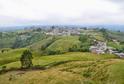 View of Filandia from Mirador Colina Iluminada in Filandia, Quindío, Colombia