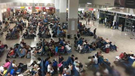 Departure area at Rafael Núñez International Airport in Cartagena, Colombia