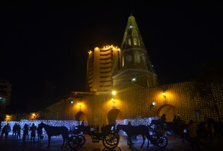 Christmas at Puerta del Reloj on Las Murallas (City Walls) of Cartagena, Bolívar, Colombia