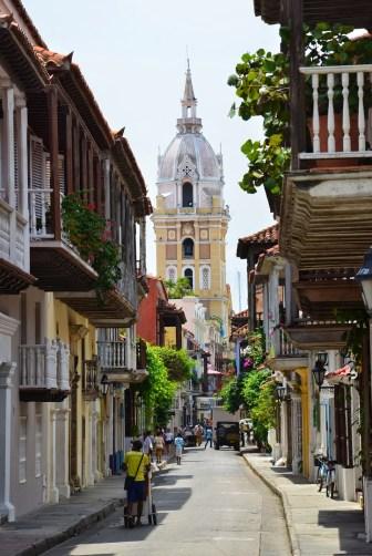 A street in San Diego looking towards El Centro, Cartagena, Bolívar, Colombia