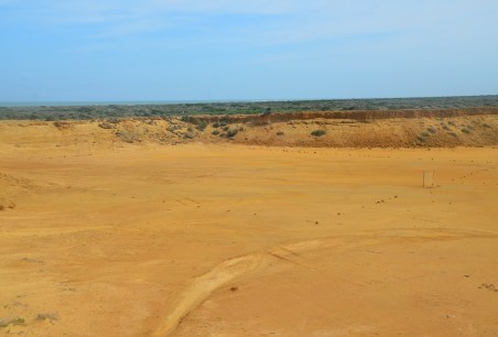 Desert football field at Punta Gallinas, La Guajira, Colombia