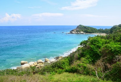View of the coastline at Tayrona National Park in Colombia