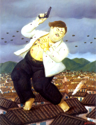 The death of Pablo Escobar, portrayed by Fernando Botero (on display at Museo de Antioquia in Medellín), Colombia