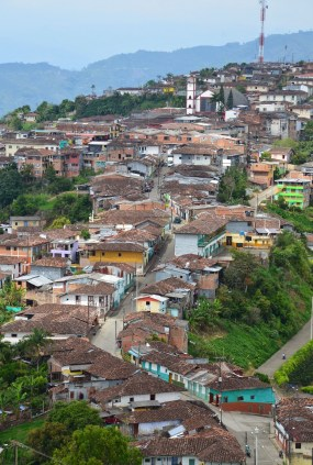 View of Belalcázar from Cristo Rey de Belalcázar in Colombia
