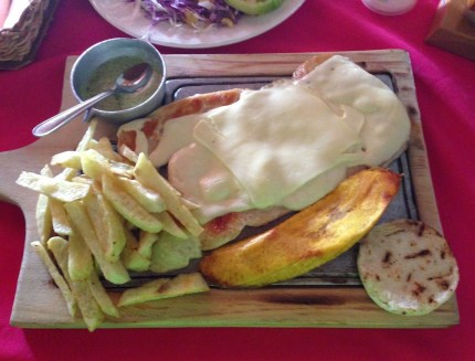Chicken with cheese at Balcón de Miramar in Quimbaya, Quindío, Colombia