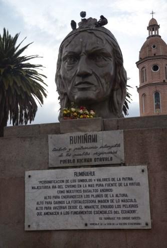 Rumiñawi monument at Plaza Bolívar in Otavalo, Ecuador