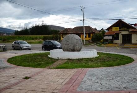 Stone globe near Cayambe, Ecuador