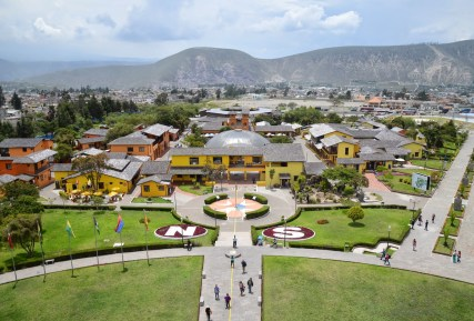 View from the Equator monument at Mitad del Mundo in Ecuador