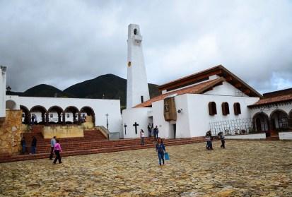 Plaza and church in Guatavita, Cundinamarca, Colombia