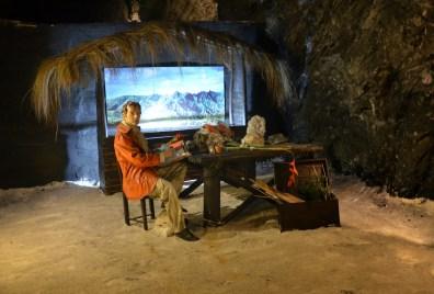 Salt mining history display in the Mina de Sal in Nemocón, Cundinamarca, Colombia