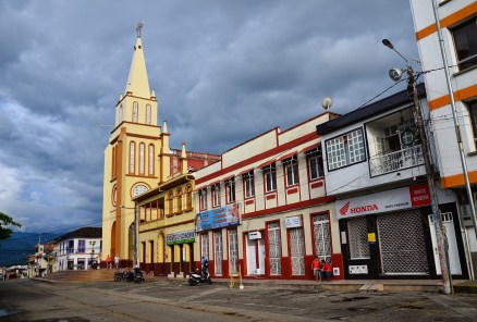 Plaza and church in Caicedonia, Valle del Cauca, Colombia