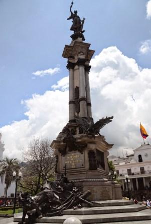 Monument in Plaza Grande in Quito, Ecuador