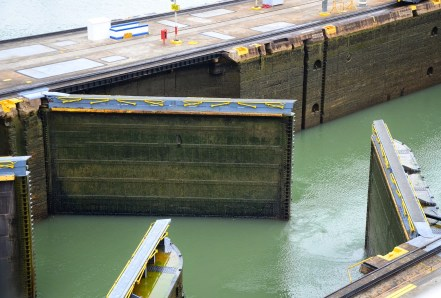 The locks opening at the Miraflores Locks on the Panama Canal