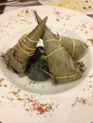 Tamales filled with rice and beef at Manolo Caracol in Casco Viejo, Panama City