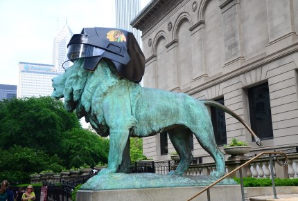 Lion dressed up for the Stanley Cup Finals at the Art Institute of Chicago