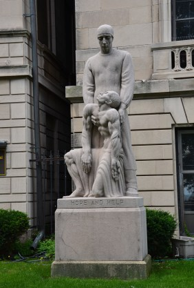 Hope and Help by Edouard Chaissing Statue in front of the International Museum of Surgical Science in Chicago