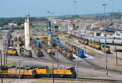 Golden Spike Tower Union Pacific rail yard in North Platte Nebraska