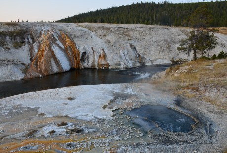 East Chinaman Spring and Cascade Geyser at the Upper Geyser Basin in Yellowstone National Park, Wyoming