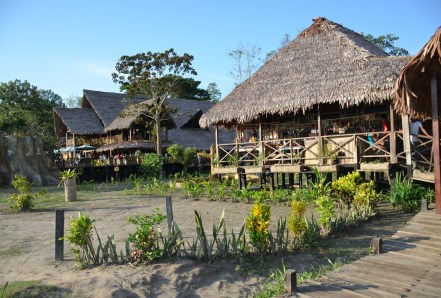 Wooden buildings at On Vacation Hotel Amazon Colombia Amazonas