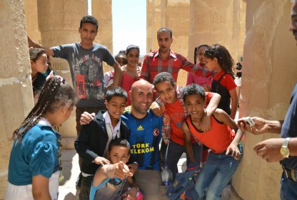 With a school group at the Temple of Hatshepsut in Luxor, Egypt