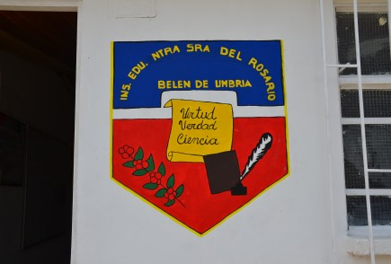 School shield at Andrés Escobar School in Belén de Umbría, Risaralda, Colombia