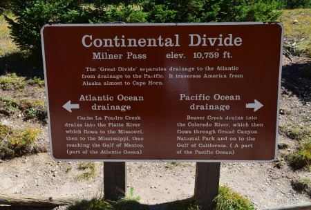 Continental Divide at Milner Pass on Trail Ridge Road in Rocky Mountain National Park, Colorado