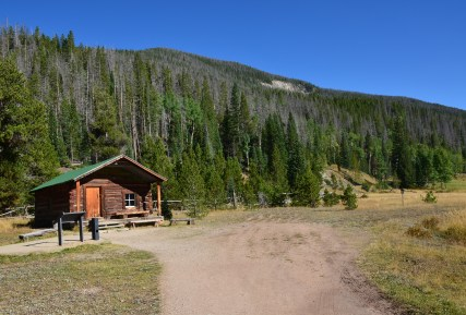 Fleshuts Cabin at Holzwarth Historic Site on Trail Ridge Road in Rocky Mountain National Park, Colorado