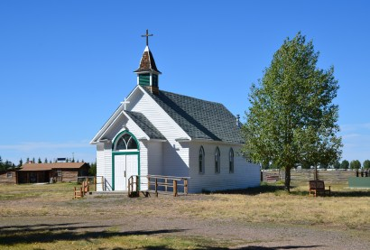 St. Mary's of the Plains church at the pioneer village at Wyoming Territorial Prison State Historic Site in Laramie