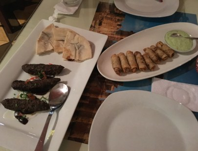 Kebabs and chicken and sumac rolls at Litany in Cali, Colombia