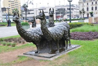 Llama sculpture at Paseo de los Héroes Navales in Lima, Peru