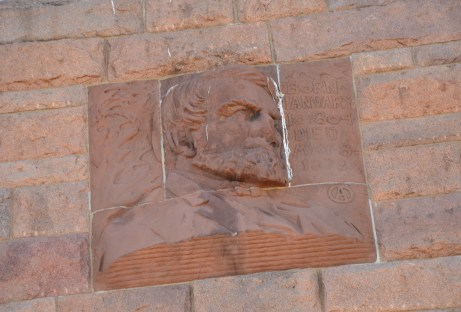 Oakes Ames portrait on the Ames Monument near the former site of Sherman, Wyoming