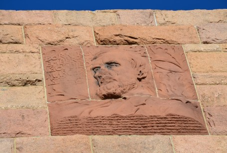 Oliver Ames portrait on the Ames Monument near the former site of Sherman, Wyoming