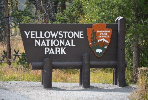 Yellowstone National Park entrance sign in Wyoming