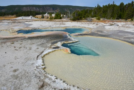 Doublet Pool on Geyser Hill at the Upper Geyser Basin in Yellowstone National Park, Wyoming