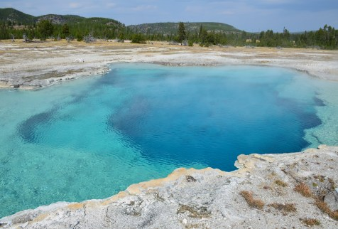 Sapphire Pool at Biscuit Basin at the Upper Geyser Basin at Yellowstone National Park, Wyoming