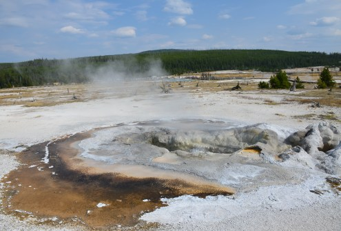 Avoca Spring at Biscuit Basin at the Upper Geyser Basin at Yellowstone National Park, Wyoming