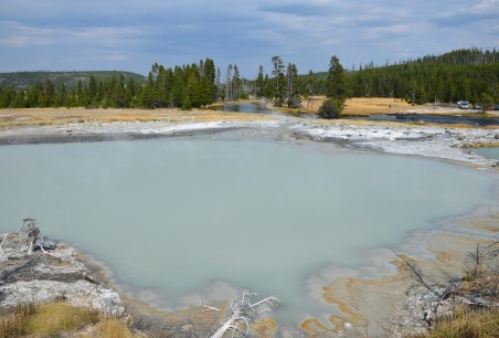 Black Diamond Pool at Biscuit Basin at the Upper Geyser Basin at Yellowstone National Park, Wyoming