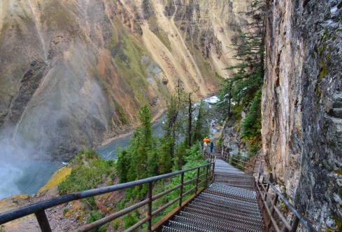 Uncle Tom's Trail at Grand Canyon of the Yellowstone in Yellowstone National Park, Wyoming