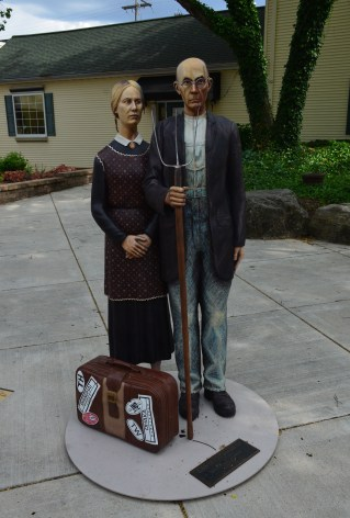 American Gothic statue on the square in Crown Point, Indiana