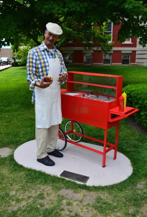 Hot dog vendor statue on the square in Crown Point, Indiana