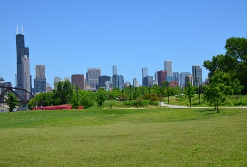 View of the skyline from Ping Tom Memorial Park in Chinatown, Chicago, Illinois