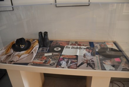 Bo Diddley memorabilia at Chess Records building (Willie Dixon's Blues Heaven) in Chicago, Illinois