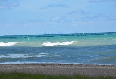 Chicago skyline on Trail #10 at Indiana Dunes State Park