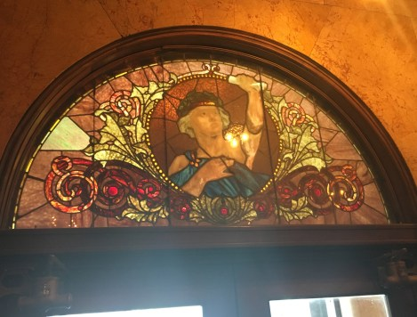 Stained glass in the Auditorium Theatre in Chicago, Illinois