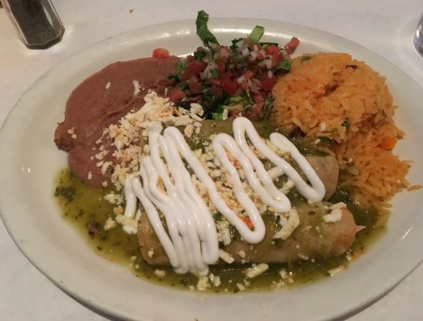 Enchilada lunch special at La Cantina Grill in Chicago, Illinois