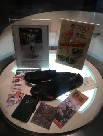Louis Zamperini's shoes at the National Italian American Sports Hall of Fame in Chicago, Illinois