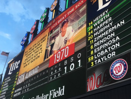 """Exploding"" scoreboard at Guaranteed Rate Field in Chicago, Illinois"