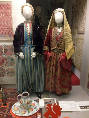 Traditional dress from Pyrgi (left) and Kalamoti (right) in Chios at the Benaki Museum in Athens, Greece