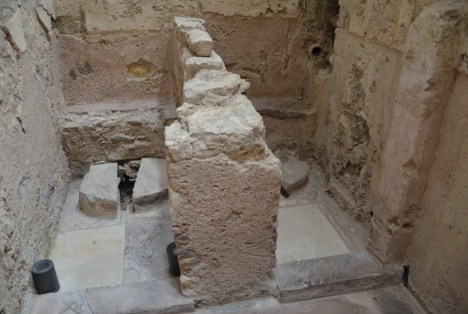 Toilets in the hamam in Kastro, Chios, Greece